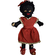 Vintage Black Cloth Doll with Embroidered Face
