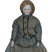 German Bald China Head Doll with Wig by Kister