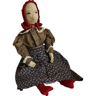 Antique Cloth Folk Art Doll with Embroidered Facial Features