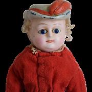 German Wax over Composition/Papier Mache Bonnet Head Doll
