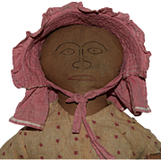Early Primitive Folk Art Cloth Doll with Ink Drawn Face