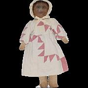 Early Oil Painted Face Cloth Folk Art Doll