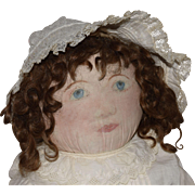 Large Antique Cloth Doll with Hand Painted Face