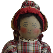Early Black Babyland Rag Cloth Doll with Painted Face
