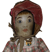 Antique Oil Painted Cloth Folk Art Doll