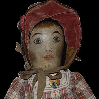 Antique Oil Painted Cloth Folk Art Doll