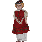Wax over Composition German Doll with Molded Bonnet