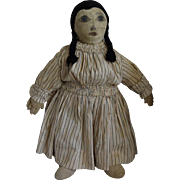 Antique Cloth Doll with Black Silk Stocking Hair