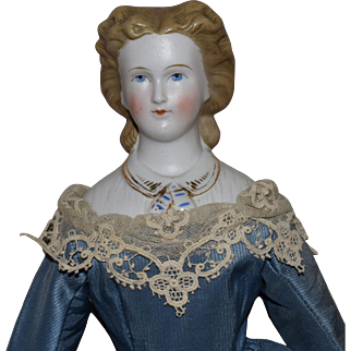 German Kling Bisque Parian Shoulderhead Doll with Decorated Bodice