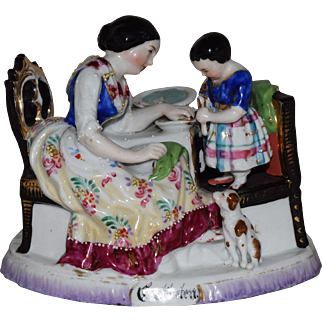 Early German Porcelain Figurine Vignette of Mother and Child