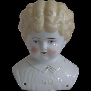 "German Pet Name China Head ""Edith"" by Hertwig & Company"