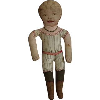 Early Cloth Cut And Sew Doll with Smiling Character Face
