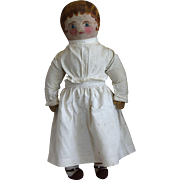 Cloth Doll with Oil Painted Face and Blue Eyes
