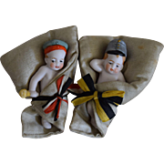 All Original All Bisque Babies with Buntings and Military Garb