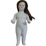 Bald Frozen Charlotte Doll with Human Hair Wig