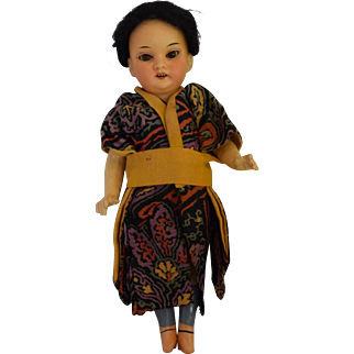 Asian German Character Bisque Head Doll in Original Costume
