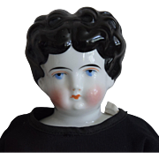 Black Hair German China Head Doll by Hertwig