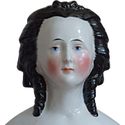 Unique German Glazed Porcelain China Head Doll with Snood