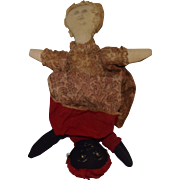 Early Cloth Topsy Turvy Doll with Ink Drawn and Painted Faces
