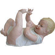Large Heubach German Bisque Piano Baby on Back