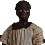Black Papier Mache Character Doll with Ethnic Features