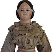 German Papier Mache Covered Wagon Hairstyle Doll