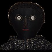 Antique Black Sateen Cloth Doll