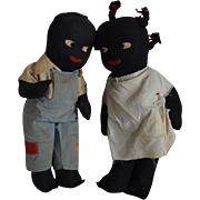 Vintage Pair of Black Cloth Dolls