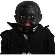 German Black Character Painted Bisque Head Doll with Disc Googly Eyes