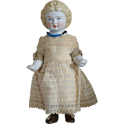 Antique China Badekinder German Frozen Charlotte with Fancy Decorated Hairstyle