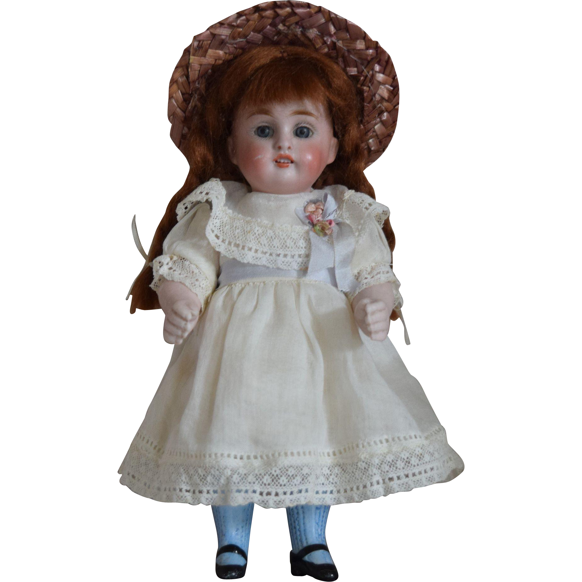 Kestner All Bisque Doll with Glass Eyes and Molded Socks and Shoes