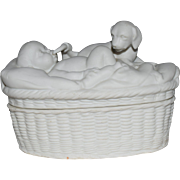 Darling German Bisque Trinket Box with Baby and Puppy