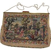 Tapestry Purse with Romantic Scenic Design and Cream Background