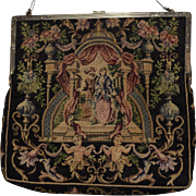 Tapestry Purse with Romantic Scenic Design and Cupid and Urn Border
