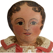 Early Oil Painted Cloth Doll
