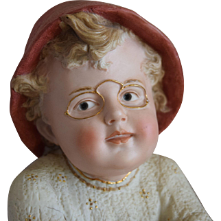 Grand Size German All Bisque Heubach Boy with Spectacles