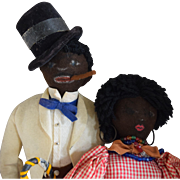 Black Folk Art Felt Man and Woman Cloth Character Dolls