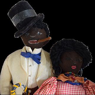 Black Folk Art Felt Man and Woman Cloth Character Dolls