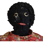 Antique Black Cloth Folk Art Stockinet Doll