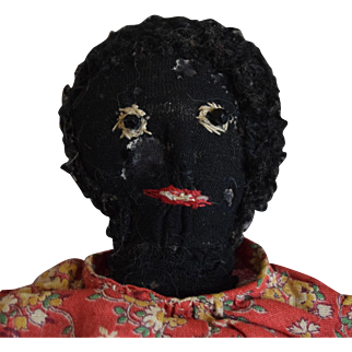 Antique Black Cloth Folk Art Stockinet Doll