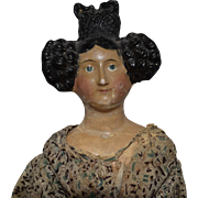 Early German Papier Mache Doll with Fancy Apollo Knot Hairstyle