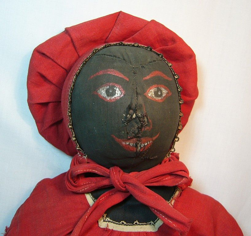 Antique Cloth Black Doll with Great Expression