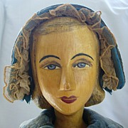 Large Helen Bullard Artist Doll with Carved Wooden Head