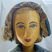 Large Helen Bullard Artist Doll with Carved Wooden Head
