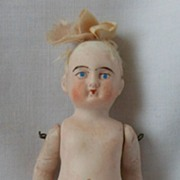Early All Bisque German Doll with Pink Molded Shoes and Shirred Hose