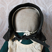 Amish Type Cloth Doll in Green Dress with White Apron