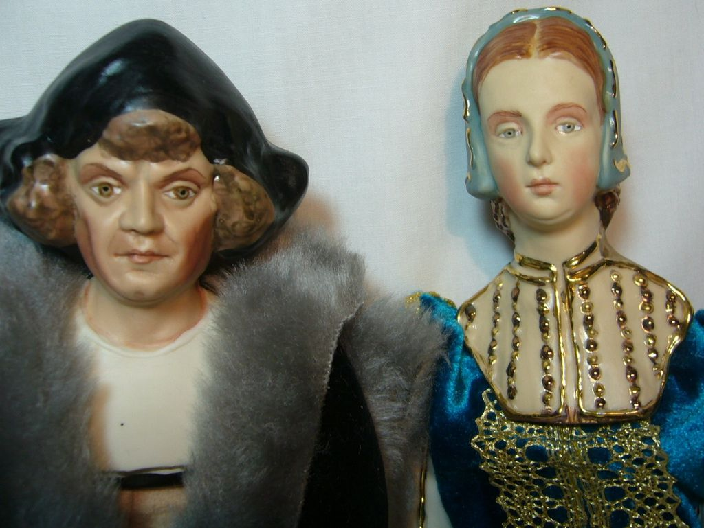 American Porcelain Doll Artist Kathy Redmond Christopher Columbus and Queen Isabella