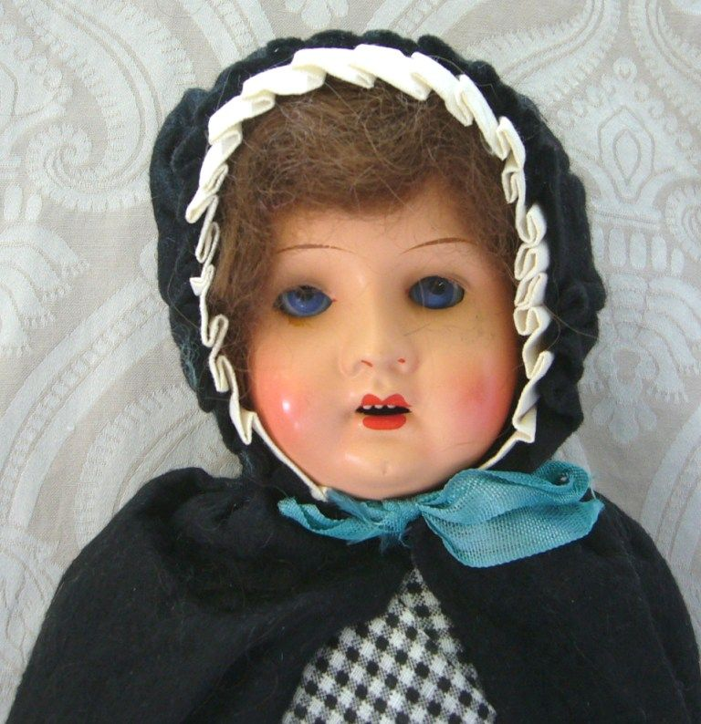 All Original Painted Bisque Doll in Ethnic Costume