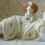 Humorous German Bisque Piano Baby with Dog and Pacifier