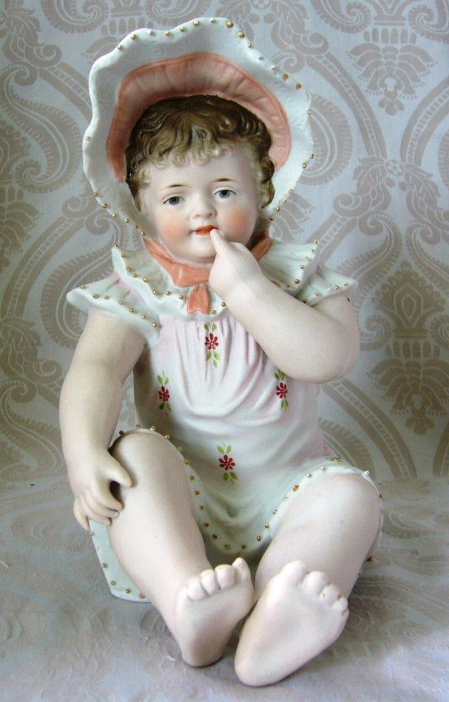Antique German Bisque Piano Baby With Peach Bonnet From